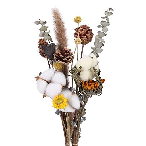 HUAESIN Ramo de Flores Secas Decoracion Naturales con Cabeza de Algodon Pluma de Pampas Grass Hoja de Eucalipto Seca Bouquet Flor Artificial para Boda Mesa Jarrones Interior Fiesta Invierno Navidad