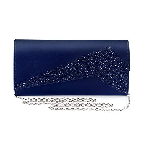Mulian LilY womens Satin Evening Bags NAVY Size: 9.8'W x 4.9'H x 2.3'D