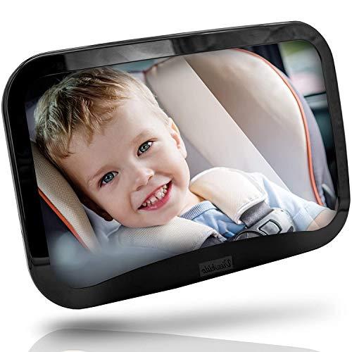 Viewkido ® Rücksitzspiegel für Babys - Baby Rückspiegel mit großer Sichtfläche - bruchsicherer Rücksitzspiegel - kinderleichte Montage - kompatibel mit fast allen Autos