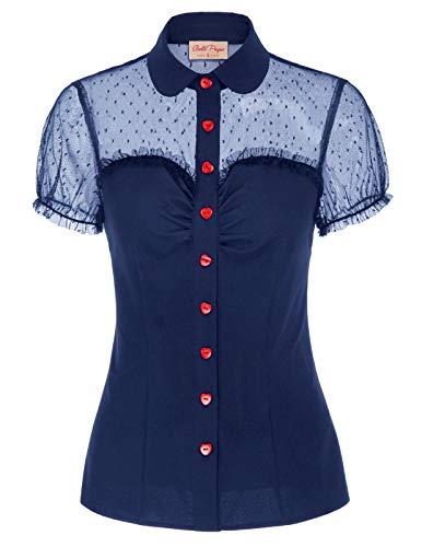 Belle Poque Camisa de Mujer Top de Tul Calado en Perspectiva Ajustada Fiesta L