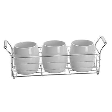 Towle Living Ceramic Wire Flatware Caddy Set, White