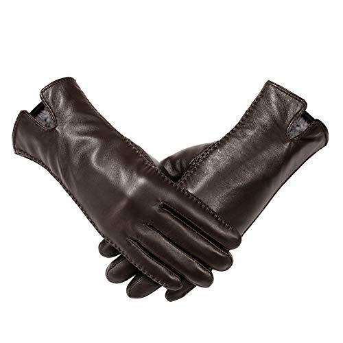 Winter Leather Gloves for Women, with Full-Hand Touchscreen Featured, Warm Driving Gloves, Dark Brown