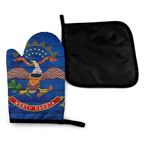 Textura de madera Bandera del estado de Dakota del Norte Guantes para horno microondas y porta ollas Juego de cubiertas Aislamiento térmico Manta Alfombrilla Manoplas Guantes Hornear Pizza BBQ-58