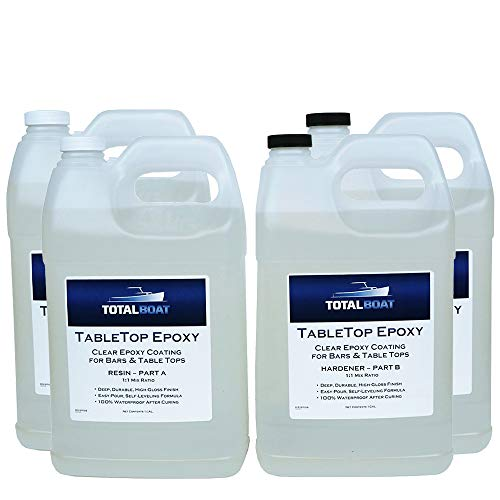 TotalBoat Epoxy Resin Crystal Clear - 4 Gallon Epoxy Resin & Hardener Kit for Bar Tops, Table Tops & Countertops   Pro Epoxy Coating for Wood, Concrete, Art