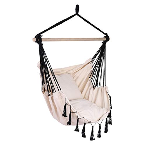 Wotryit Hammock Chair Macrame Swing Hand Made Swing Chair Prefect for Indoor Patio Deck Yard Garden Reading Leisure Cream,Best Gift for Mother, Girlfriend, for Superior Comfort Durability