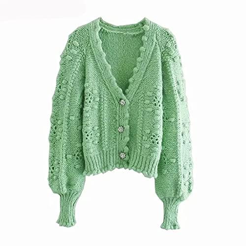 DJMYNVKD Mujeres con textura tejida crochet cardigan suéter chaqueta vintage v-cuello botón decoración femenino tejido ropa exterior (Color : Green, Size : Medium)
