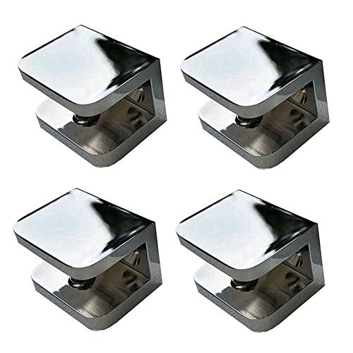 Shower Glass Clamp, No-drill-on-glass Fixed Panel Shower Door Clip Holder Bracket Support Fixed Panel U-Clamp (4, Chrome clamp for 10-12mm glass)