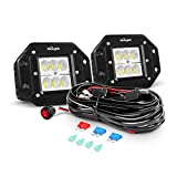 Nilight 2PCS 18W Flood Flush Mount LED Work Light Fog Lights Off Road Lights Driving Lights With Off Road Wiring Harness, 2 Years Warranty (ZH050)