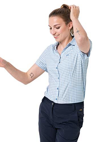 Jack Wolfskin Damen Kepler Shirt Women Schnelltrocknende Bluse Kurzarm, Ice Blue Checks, XL
