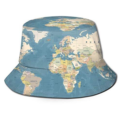 NA Blue Country World Map High detailed Worldmap Beige Bucket Hut Fischerhut Sommer Packable Cap für Männer Frauen