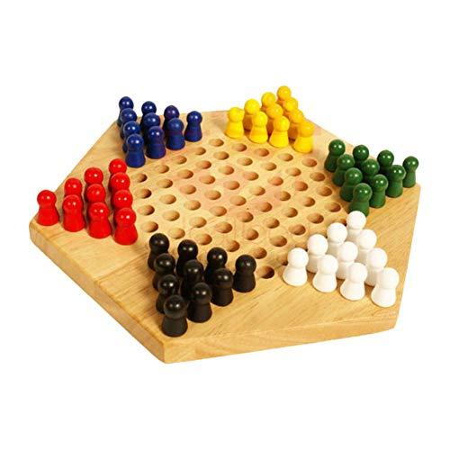 HNKPWY Massivholz Sechseckiges Sprungschach Lässiges LernspielzeugMehrsitziges interaktives Brettspiel Schach für Party