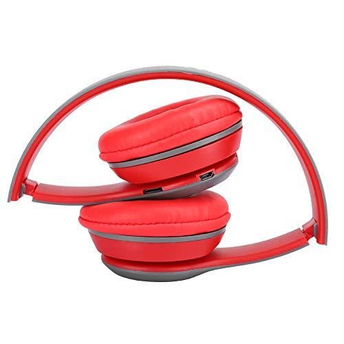 Wosune Drahtloses Headset, FM Music Earpiece Game Earpiece, Rauschunterdrückung Wireless DesktopComputer Laptops Tablets für Mobiltelefone(red)