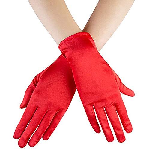 guanti rossi Ruiuzi Guanti corti di raso Guanti da polso Guanti da donna Guanti da cerimonia per banchetti da ballo Guanto per feste (Rosso)