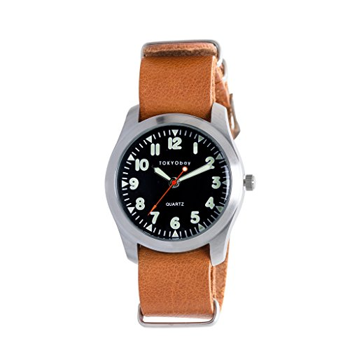 Tokyobay Basic Leather Watch, tan w/Black