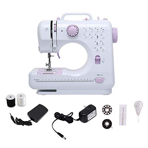 Portable Sewing Machine with Foot Pedal, 12 Stitches 2 Speed Heavy Duty Sew Machine, Electric Handheld Quilting Embroidery Overlock Quick Sewing Machine Household Sewing Tool