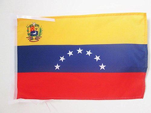 AZ FLAG Bandera de Venezuela Antigua con Escudo 45x30cm - BANDERINA VENEZUELANA con Armas 30 x 45 cm cordeles