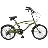 スピードワールド(SPEED WORLD) ビーチクルーザーバイク  6段変速 20インチ 4色 (マットグリーン)