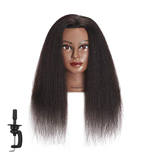 Traininghead 100% Real Hair Mannequin Head Training Head Cosmetology Manikin Practice Head Doll Head With Free Clamp Female (16 inches) (A)