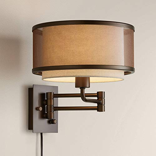 Vista Rustic Farmhouse Swing Arm Wall Lamp Oil Rubbed Bronze Plug-in Light Fixture Brown Oatmeal Linen Double Drum Shade Bedroom Bedside House Reading Living Room Home Hallway - Franklin Iron Works