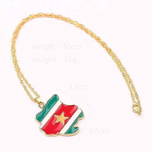 ZJJLWL Co.,ltd Collar Collar Collar Bandera Nacional Mapa Colgante Collar Colgante Norteamérica Norteamérica Nigeria Egipto Encanto Joyería Regalos para Mujeres Niños