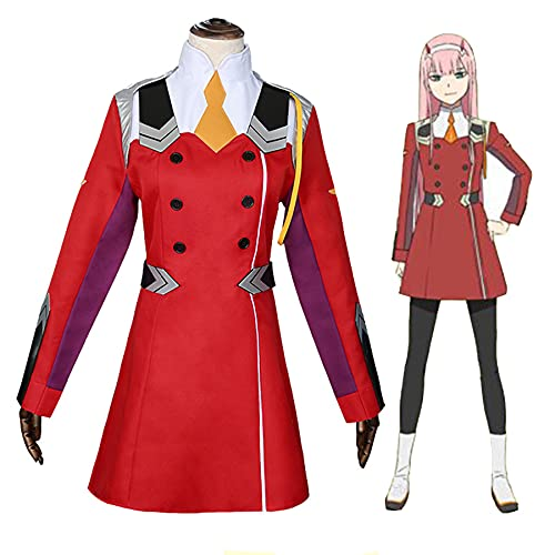 GNZY Zero Two Disfraces de Cosplay Anime Darling in The FRANXX Zero Two Vestir Trajes Uniformes Sombreros Mujeres Vestido de Disfraz de Halloween
