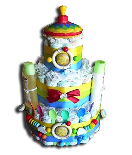 Tarta de pañales mágica para niños y niñas, regalo neutral para baby shower, bautizos, nacimientos