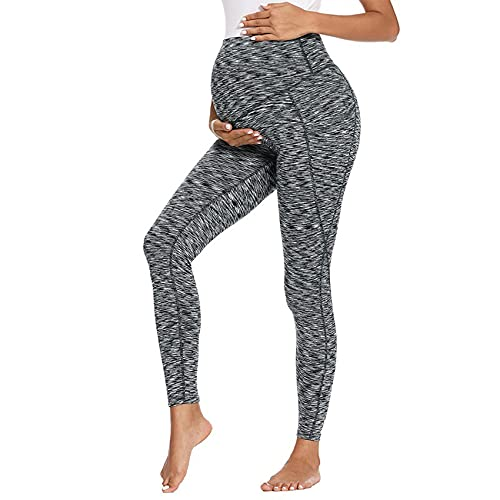 WAEKQIANG Mujeres Embarazadas con Bolsillos Cintura Alta Fitness Yoga Pantalones De Maternidad Super Soft Running Belly Control Active Sports Pants