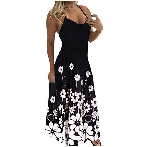 Fcostume Damen Sommerkleider Blumen Maxi Kleid Ärmellos Abendkleid Strandkleid Party Lange Kleid