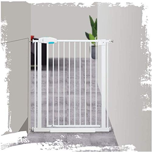 Baby Gates Pet Dog Gate Wall Fixed Extending Metal Kids Barrier Protector Opens to Both Sides-168-174cm_White