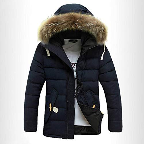 DaunenjackeWinddichte Winter Thick Warm Furry Hood Parka HerrenjackeMäntelOutdoorCamping (Size:L; Color:Navy)