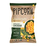 Pipcorn Heirloom Cheese Balls - Broccoli Cheddar, 4.5oz Bags, 4 Pack - Organic Cheese, No Artificial Amything, No Preservatives, Gluten Free, Real Broccoli