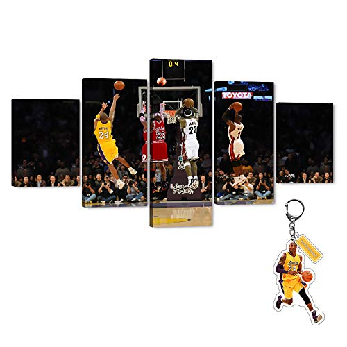 "5 Pieces MJ Kobe Lebron Wade Canvas Wall Art, Large Flying Man Bryant James Game-Winning Shot Collection Art Print for Wall Decor, Basketball Legend Posters Gift for Men Boys Room Decor (60' Wx32"" H)"