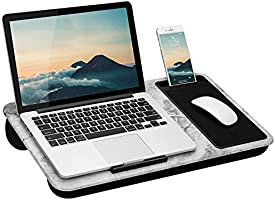 LapGear Home Office Lap Desk with Device Ledge, Mouse Pad, and Phone Holder - White Marble - Fits Up To 15.6 Inch...