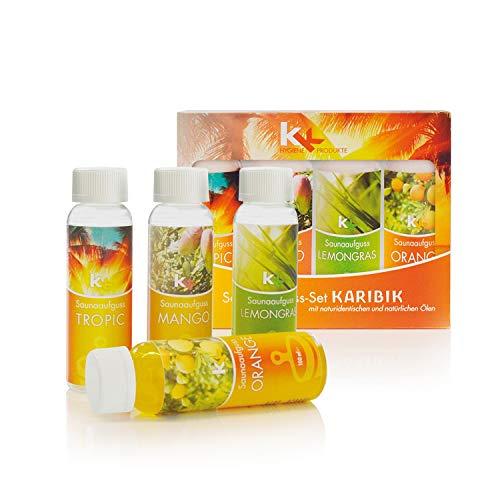 KK Saunaaufguss-Set Karibik - Made in Germany - 4 verschiedene Duftsorten in einem Set - Tropic, Mango, Lemongras, Orange - 100ml Flasche - in verschiedenen Varianten erhältlich