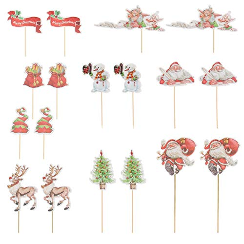 KESYOO 27Pcs Cupcake Toppers Christmas Paper Santa Claus Cake Toppers Birthday Party Baby Shower Cake Decoration