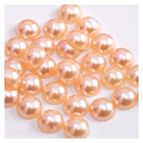 WEIGENG Perlas de acrílico de 2/3/4/5/6/8/10/12/14 mm de imitación de perlas medias redondas de color rojo negro y rosa para hacer joyas (color naranja, tamaño: 4 mm x 300 piezas)