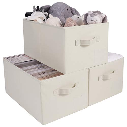 3pcs Collapsible Open Closet Shelf Storage Containers, Compatible for Ikea PAX Wardrobe, Large Size Cubes for Groceries, Beige