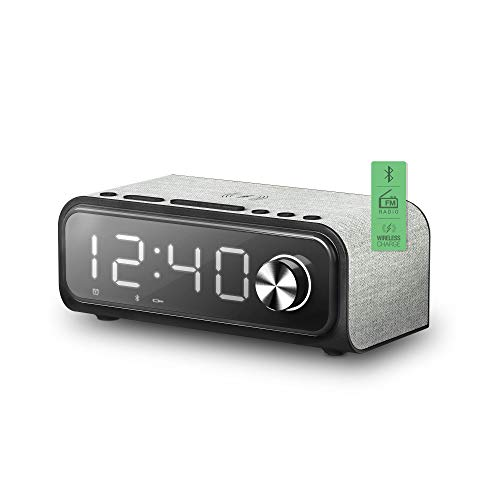 Energy Sistem Clock Speaker 4 Wireless Charge Altavoz portátil con Bluetooth (Dual Alarm, 10 W, Carga inalámbrica, Radio FM, USB/microSD MP3)