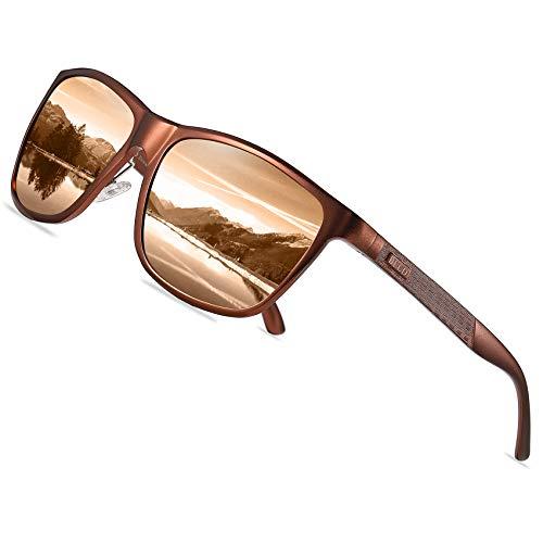 DUCO Rechteckigen polarisierten Metallrahmen Sonnenbrille Outdoor-Brille für das fahren 8200 (Braun)
