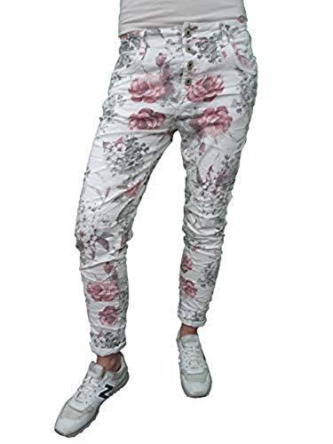 Karostar Denim Stretch Baggy-Boyfriend Jeans Boyfriend 4 bottoni aperti Fiori White XXXL
