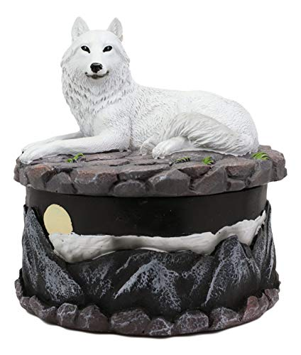Ebros Gift Albino Snow White Wolf in Repose Round Jewelry Decorative Box Figurine with Full Moon Night Mountain Scenery As Decor of Timberwolves Wolves Animal Totem Spirit Sculpture Accessory Storage