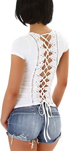 StyleLightOne Débardeur d'été sexy pour femme - Dos nu - Dentelle - Dentelle - Élastique - Taille 34-38 - Blanc - 40