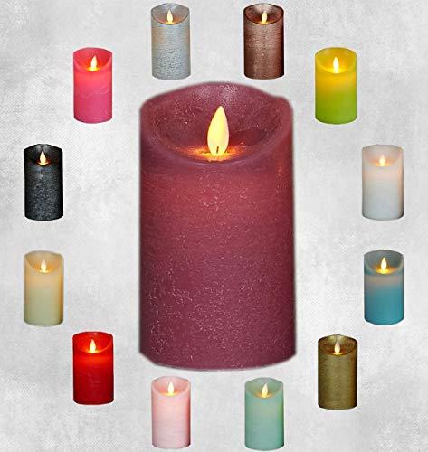 Coen Bakker LED Echtwachskerze Kerze viele Farben mit Timer flackender Docht Wachskerze Kerzen inkl. Batterien, Farbe:Antik Rosa, Größe:15 cm