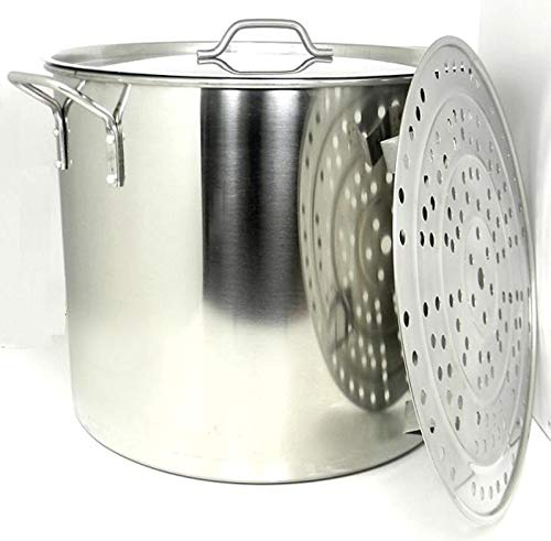 Stock Pot Stainless Steel 80 QT Steamer Brew Vaporera Tamalera For Tamales (20gallons)