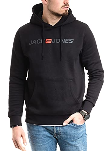 Jack and Jones Herren Hoodie (Kapuzenpulli Pullover Sweatshirt mit Kaputze) (Black, L, l)