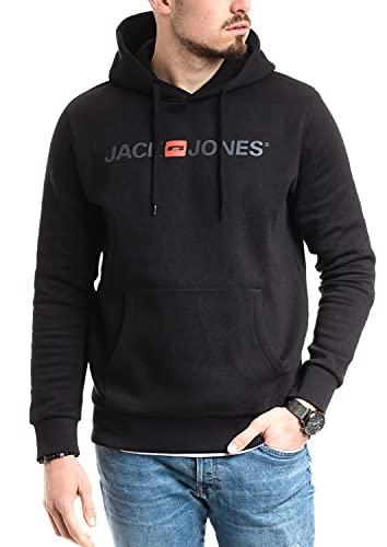 Jack & Jones - Felpa con cappuccio da uomo, con logo, Nero , L