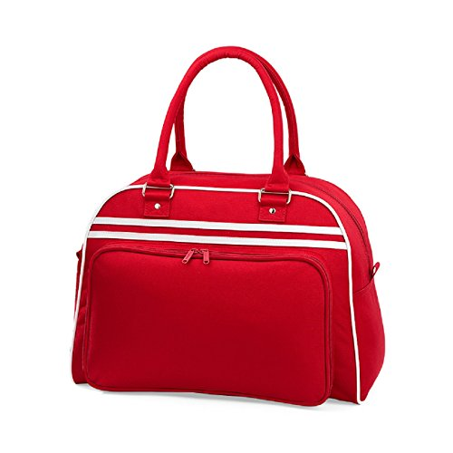 BagBase, Retro Bowling Bag Sport Bag, Rot - Red / White - Größe: One size