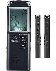 Grabadora de voz digital, ZEERKEER 8GB Grabadora de voz recargable portátil de alta calidad con micrófono Función de altavoz Reproductor de MP3 Grabadoras de voz para reuniones de clase Entrevistas