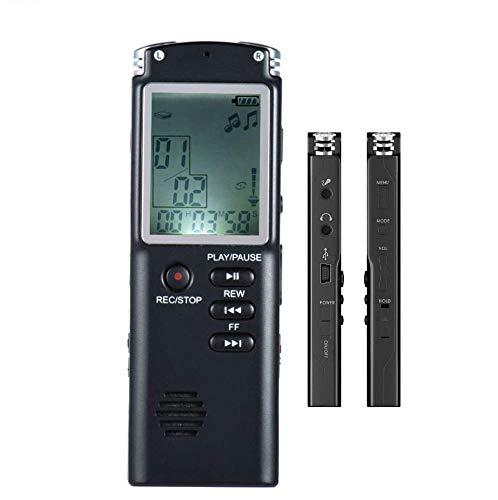 Enregistreur de Voix Numérique, zeerkeer Enregistreur rechargeable Portable de haute qualité de dictaphone avec microphone, fonction haut-parleur, fonction de graver