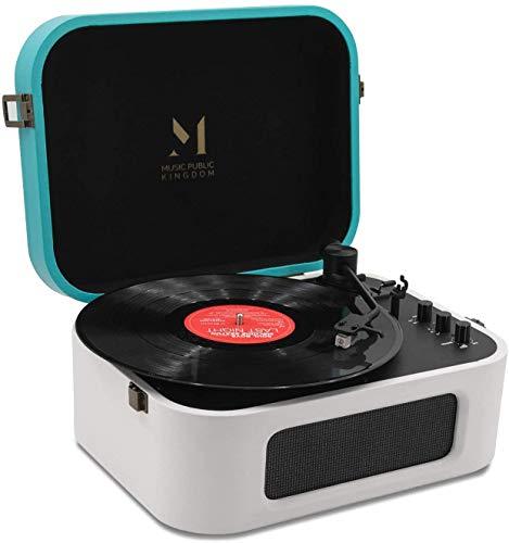 Tocadiscos Bluetooth, tocadiscos con altavoz incorporado, tocadiscos de vinilo de 2 velocidades para discos de vinilo de 7/10/12 pulgadas, RCA equipado, diseño de maleta (Blanco)